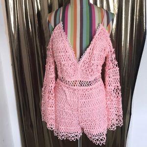 Crochet long sleeve romper
